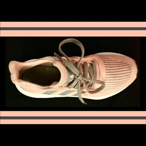 pink and grey adidas sneakers swift run
